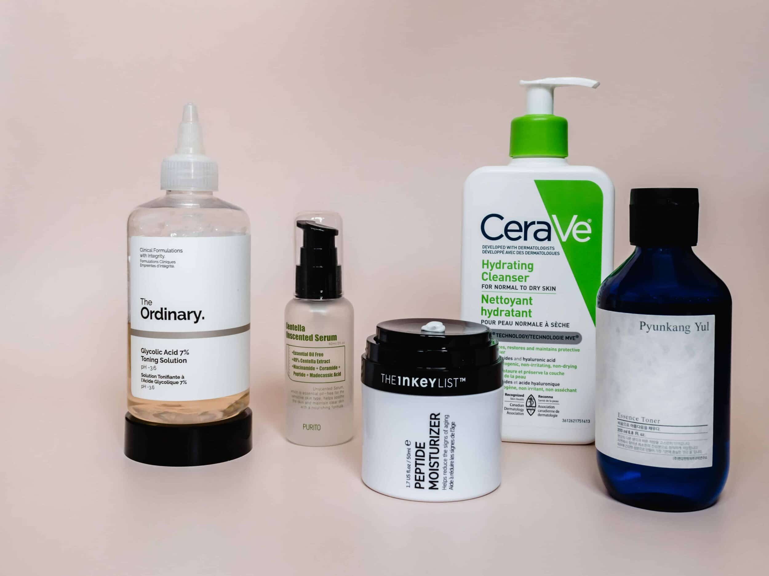affordable skincare including the ordinary, the inkey list, cerave, purito